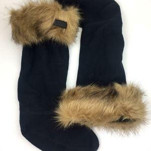 Hunter Faux Fur Cuff Tall Boot Sock sz L